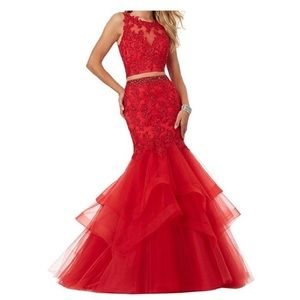 Red two piece prom dress!